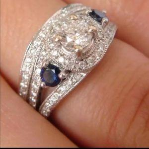 WOW!! Genuine Diamond & Sapphire Ring